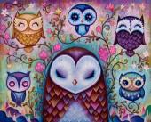 R-I8.2 FH1577 Diamond Painting Set Owls Square 50x40cm