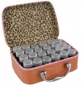 Y-F2.3 TOOL2112-025 Suitcase 13.5x19x7cm with 24 Jars Pink