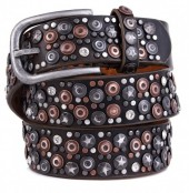 I-F4.2  FTG-060 PU with Leather Belt with Studs-Stars-Crystals 3.5x85cm Brown
