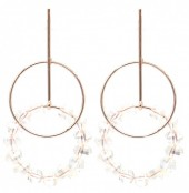 C-D22.1 E2019-008RG Earring Circles with Faceted Glass Beads 55mm Rose Gold