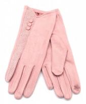 R-J3.1 GLOVE403-093B Glove Buttons and Snake Print Pink