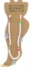 G-A8.1  ANK004A Anklet with Beads and Metal Shells Blue