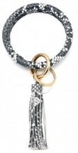 BC514-001B Bag - Key Chain Ring with Tassel Snake Grey