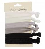 C-D3.1   Hairtie 6pcs H008-009 Glitters Black Grey White