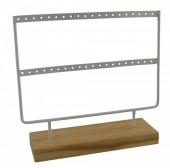 R-A3.2   PK424-004 Wood with Metal Earring Display White 23x22x7cm