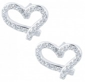 E-A21.4 E103-010 925 Sterling Silver Earrings Hearts Crystals