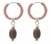 C-B5.5 E2142-032S S. Steel Earrings 1x2.5cm Purple Aventurine