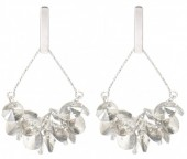 C-A9.1 E2019-009S Earring with Faceted Glass Beads 5cm Silver