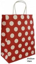 T-B4.1 PK525-009D Paper Giftbag 21x15cm Red 12pcs
