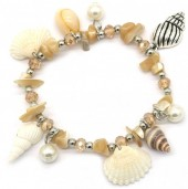 F-B9.1 B536-002 Elastic Bracelet Shells and Beads