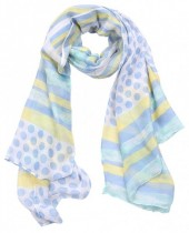 X-O9.3 S312-003 Scarf Dots and Lines 85x180cm Blue