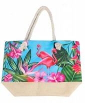 Y-A2.2 BAG528-002 Beach Bag Jungle Flamingo 36x52cm