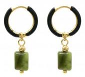 B-A6.3 E2142-029G S. Steel Earrings 1x2.5cm Southern Jade
