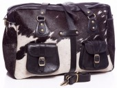 S-A4.2 BAG-907 Large Leather Bag 44x31x13cm Black Leather with Mixed Cowhide