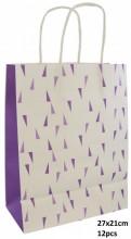 Q-I4.1 PK525-007D Paper Giftbag 27x21cm Purple 12pcs