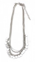 C-B19.2 N223-005 Necklace with Metal Chains and Small Coins Silver