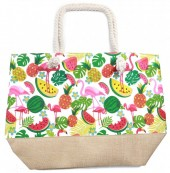 Y-D3.4  BAG528-001C Beach Bag Fruit Flamingos