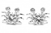 A-F4.2  SE104-115 Earrings 925S Silver 10mm Crabs with Zirconia