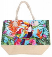 Y-A6.2  BAG528-005 Beach Bag Parrot-Toucan 36x52cm