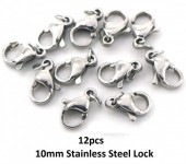 A-G8.3 LB301-036 S. Steel Lobster Buckle 10mm incl  4mm ring Silver  12pcs