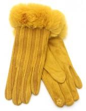 R-N6.2 GLOVE403-069A Gloves Rib Fabric and Faux Fur Yellow