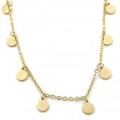 D-D19.1  N1939-017G S. Steel Necklace Coins Gold