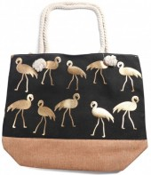 Y-E2.4 BAG530-002 Beach Bag Flamingos Gold-Black