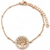 D-D20.4 B2020-001RG S. Steel Bracelet 15mm Tree of Life Crystals Rose Gold
