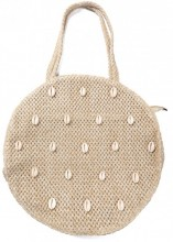 Z-A3.1  BAG533-006B Woven Straw Bag with Shells 35x8cm Beige