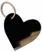 A-A22.2 Black Leather Cowhide Keychain Heart Mixed Colors 7cm