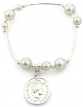 C-E17.1 B2019-001S Bracelet with Pearls and Coin Silver