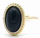 G-D5.1  R532-007G Adjustable Ring with Black Stone Gold