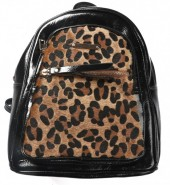Y-A2.4 BAG534-001A Shiny PU Backpack with Animal Print 30x27x12cm Black-Brown