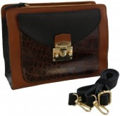 S-B1.3 BAGE-1176 Leather Bag with Snake Skin 22x17x9cm Brown