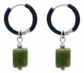 B-A20.5 E2142-029S S. Steel Earrings 1x2.5cm Southern Jade