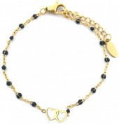 C-A18.5 B301-029 S. Steel Bracelet with Black Dots and 10mm Hearts Gold