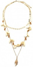 E-F23.1 N538-001 Long Layered Necklace Shells-Coins