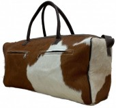 T-E7.2 Leather Cowhide Duffle Bag 60x25x25cm Brown Mixed Colors