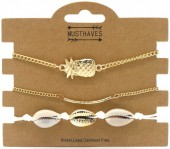 E-D16.2 B538-031 Bracelet Set 3pcs Shells-Pineapple White-Gold
