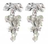 B-E21.3 E2019-006S Earrings Faceted Glass Beads 40mm Grey-Silver