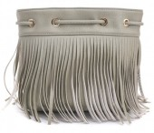 R-L1.2 BAG010-001 PU Bag with Fringes Grey 26x20cm
