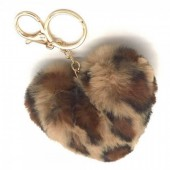S-E1.4  KY414-001F Fluffy Keychain 10cm Heart Leopard Brown