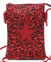 T-J3.1 BAG326-002 PU Festival Crossbody Bag Leopard with Star 20x15cm Red