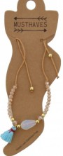 E-A2.1  ANK221-018 Anklet Beads with Mixed Colored Tassels Brown
