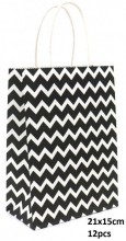 T-G8.2 PK525-006A Paper Giftbag Zigzag 21x15cm Black-White 12pcs