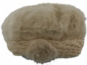 T-K8.1 Soft Fake Fur Hat with Flower Beige