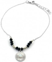 B-D18.5 B2019-044S Anklet with Black Onyx Silver
