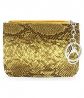 K220-006 Keychain Wallet Snakesking with Creditcard Pocket 12x9cm Yellow
