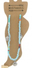 G-A6.1 ANK004B Anklet with Beads and Metal Shells Blue