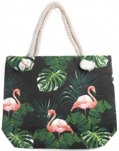 Y-B6.3 BAG217-002 Beach Bag Flamingos 43x34cm Black